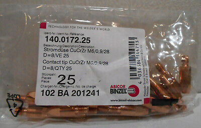 25 New Abicor Binzel Contact Tips M60928 140.0172.25