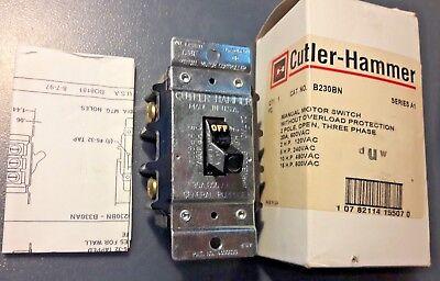 EATON CUTLER HAMMER B230BN Manual Motor Switch 2-15 HP 120-600V 2 POLE 30 AMP comprar usado  Enviando para Brazil