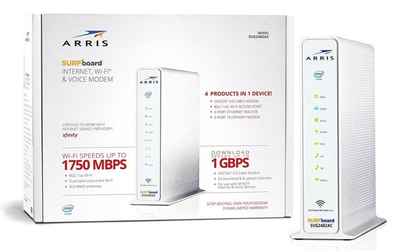 ARRIS Surfboard 24X8 Docsis 3.0 Cable Modem/Telephone/AC1750 Wi-Fi Router, White