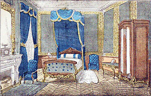 paris appartement haussmannien napol on iii chambre coucher gravure 19 ebay. Black Bedroom Furniture Sets. Home Design Ideas