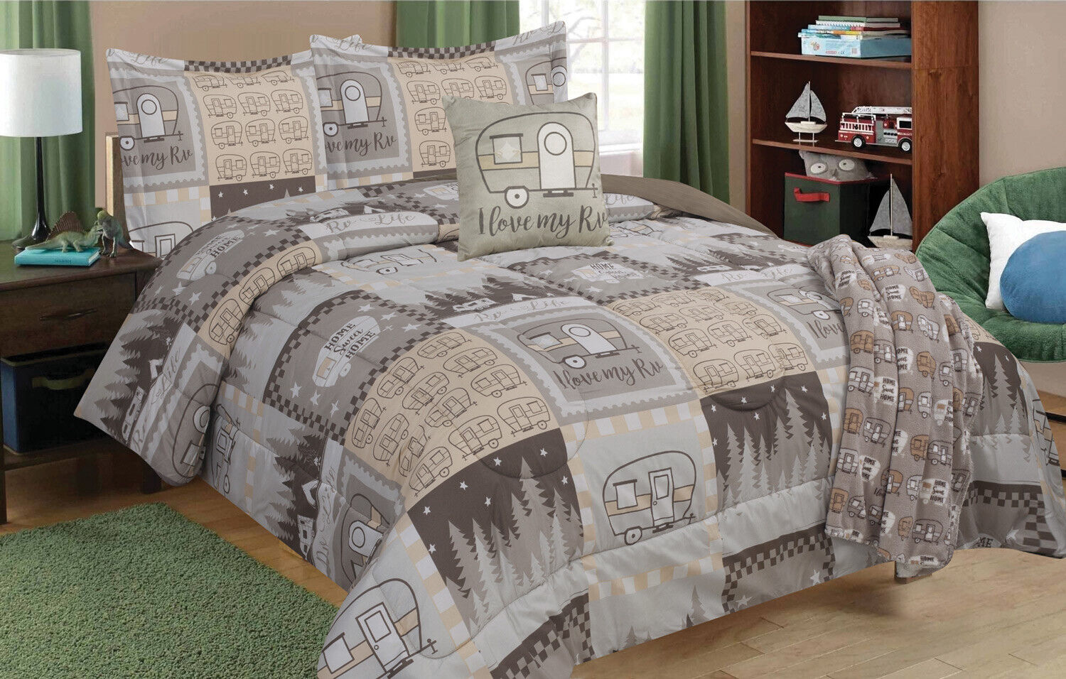 Twin, Full/Queen, or King RV Camping Comforter Set, Pillow, Blanket or Curtains Bedding