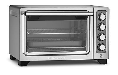 "KitchenAid Steel 12"" Convection Countertop Toaster Oven Bake Broil R-KCO253CU"