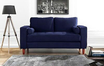 Couch for Living Room, Tufted Velvet Fabric Loveseat Sofa w/ Back Cushions, Navy ()