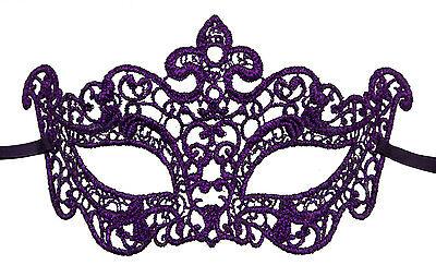 Mask from Venice Lea Lace Burano-Wolf Civet Purple 2219 V2