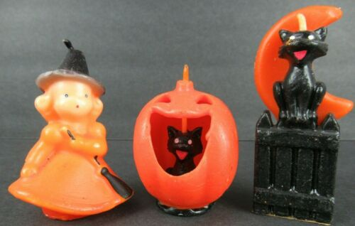 VINTAGE HALLOWEEN CANDLES: WITCH, CAT & MOON AND CAT IN PUMPKIN - UNUSED