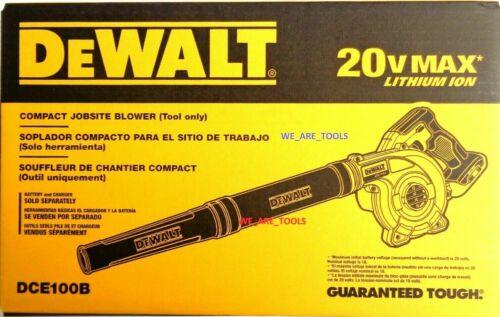 NEW Dewalt DCE100B 20V Cordless Blower 20 Volt MAX Compact Jobsite 100CFM