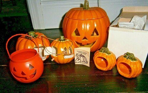 vtg Halloween Morton ceramic Light lamp pumpkin (5) lot Jack O