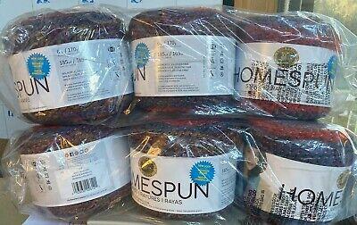 "6 skeins Lion Brand® Homespun® Stripes New Look Yarn  #618 ""Misty Morning"