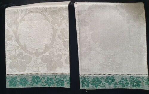 "2 ANTIQUE IRISH DAMASK LINEN HAND TOWLS - IVY MOTIF - 30"" BY 16 1/2"""