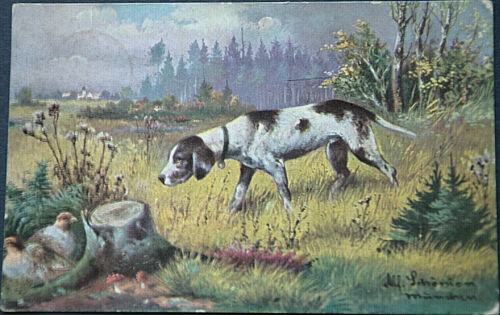 49529 Ak Hunting Dog With Little Bird On Glade 1909