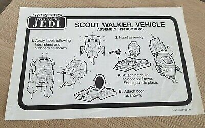 Vintage Star Wars Return Of The Jedi Palitoy Scout Walker Vehicle Instructions