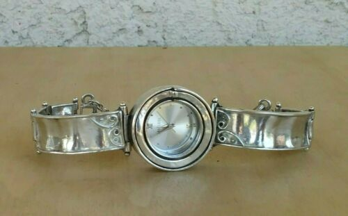 "Shablool Sterling Silver Handmade Israel Bracelet Watch Signed, 38 g 5.75"" Wrist"