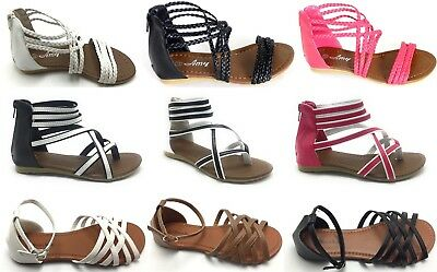 Girls Kids Multi Color Roman Thong Gladiator Sandals Flats Strapy Shoes Sz 11-4](Girl Flats Shoes)