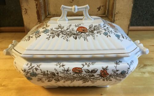 Aesthetic Wedgwood Brown Transferware Polychrome Large Covered Soup Tureen