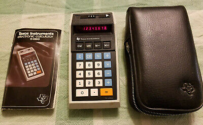 Vintage 1975 Texas Instruments TI-2550 Electronic Calculator w Manual & Case