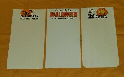 vintage HALLOWEEN RETAIL STORE DISPLAY SIGN lot x3 owl witch treats mask costume (Halloween Costumes Retail Stores)
