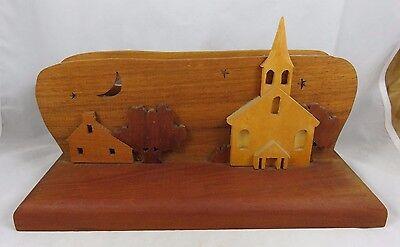 Vtg Desk Caddy Mail Holder Organizer Carved Wood Paul Revere Americana Folk Art