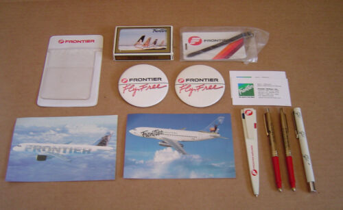 Vintage Frontier Airlines Lot Buttons Pens Post Cards Pocket Protector Cards