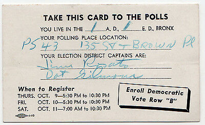 1960s BRONX New York City POLITICAL Palm POLL Card DEMOCRATIC PARTY - Party City Bronx