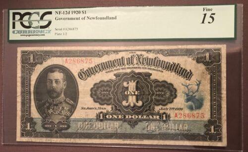Government of Newfoundland 1920 $1 bill. Graded Fine 15