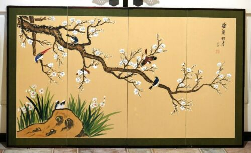 Japanese Style Byobu Signed Hand Painted Birds on Branch 4-Panel Folding Screen