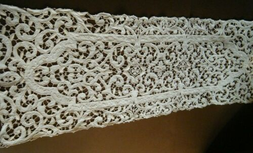 19c Church Altar Scarf &Maltese cross Punto Artico needle lace &emb/ry H done