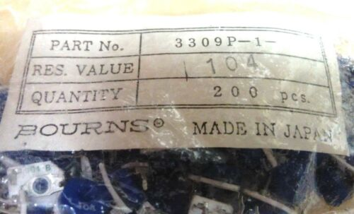 (200 pc NOS lot): 3309P-1-104 Bourns Trimmers, 100K Res Value, 9mm -- Just .09ea