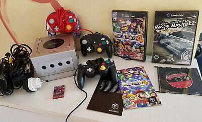 Nintendo Gamecube Console (Pal) Silver / 3 x Controller / Mario Party 4+ Games