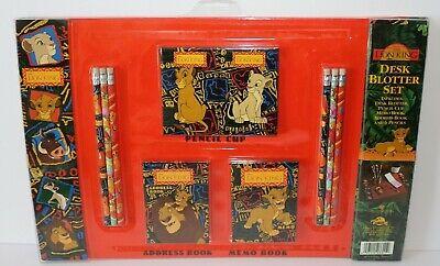 The Lion King Desk Blotter Set Pencil Cup Address Memo Book Pencils Rare