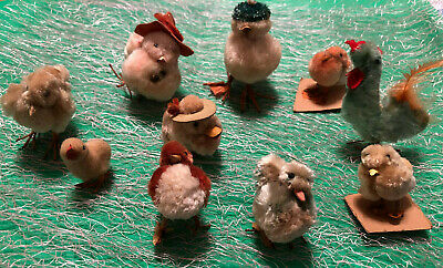 Vintage Easter Chenille Chicks & Rooster - Set of 10 - Glass Eyes Wire Legs RARE