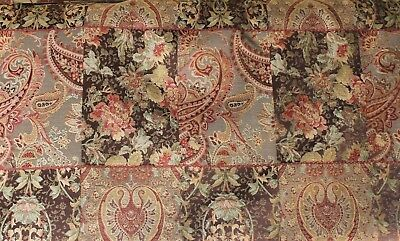 3 ROBERT ALLEN ROCOCO BROWN TRADITIONAL WOVEN PATCHWORK FLORAL UPHOLSTERY FABRIC