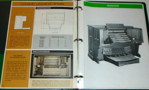 VINTAGE 1974 REISNER PIPE ORGAN SUPPLY CATALOG! GREAT PICTURES! PRICES! PARTS!