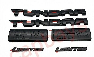 FOR 2000-18 Toyota Tundra Matte Black Out Emblem Badges tailgate 6 Piece Kit A