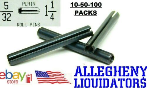 """( 10-50-100 ) 5/32"""" Dia. x 1-1/4"""" L. PLAIN BLACK STEEL ROLL SPRING PINS USA NH"""