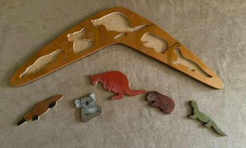 Boomerang puzzle removable animals Australia Made Wooden vintage wood