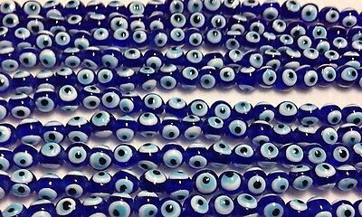 8mm Cobalt Evil Eye VTG Lampwork Glass Beads, Strand of Approximately 50 Beads