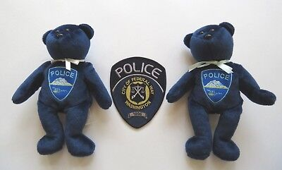 Washington City of Federal Way 1996 shoulder FWPD Beanie bear plush police dept