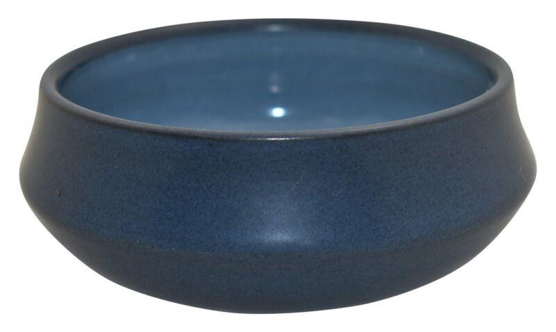 Marblehead Pottery Mottled Matte Blue Shouldered Arts and Crafts Bowl