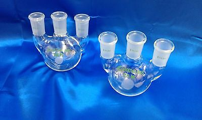 2ea 250ml Vertical Heavy Wall 2440 3 Neck Round Bottom Flask