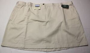 LL-BEAN-Womens-KHAKI-WRINKLE-RESISTANT-100-COTTON-ADJUSTABLE-SKIRT-NWT-PLUS-22P