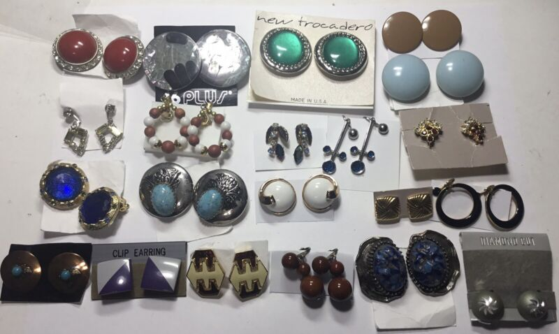 VINTAGE COSTUME 21 SETS OF CLIP ON EARRINGS NEW BY AVON