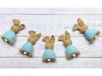 Handmade Beatrix Potter Peter Rabbit Bunting 2m 8 Flags Grey Nursery Banner