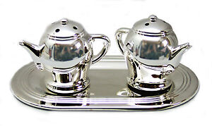SALT-PEPPER-CRUET-TRAY-SET-Silver-Plated-Teapots-Dinner-Table-Novelty-Gift-NEW