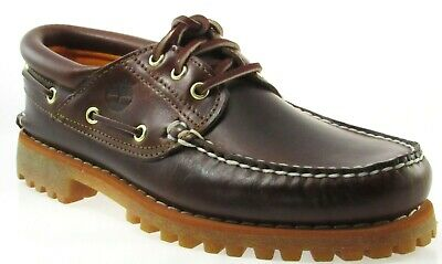 TIMBERLAND 6500A TFO CLASSIC 3 EYE LUG MEN'S BROWN LEATHER BOAT SHOES  ()