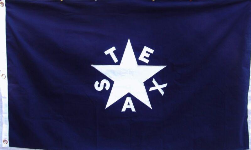 Heavy COTTON 3 X 5 LORENZO DE ZAVALA TEXAS REPUBLIC STATE FLAG - SEWN DETAILS