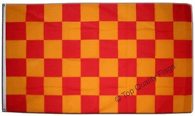 Checkered red yellow FLAG  Banner 90x150cm - 5ftx3ft