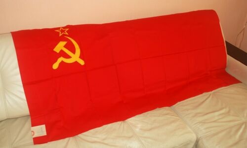 1 x SOVIET BIG FLAG (POLE SLEEVE) RED COTTON. MADE IN USSR. EXCELLENT CONDITION.