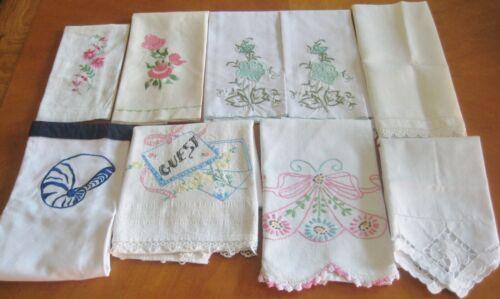 LOT 9 Hand Towels Embroidered Cut Work Fingertip Guest vintage cotton linen