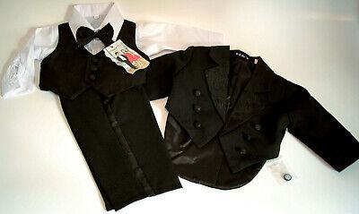 Kinder Jungen Smoking Baby Frack Anzug Taufanzug Babyanzug Schwarz 0-18 Monate