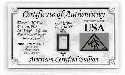 Fine Silver Bar 5 Grain COA Card Collection Great Birthday Invest USA Gift Idea - Great Birthday Ideas